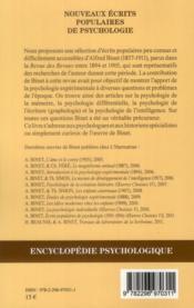 Nouveaux écrits populaires de psychologie ; oeuvres choisies VII - 4ème de couverture - Format classique