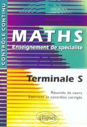 Controle Continu ; Mathématiques ; Terminale S ; Enseignement De Spécialité - Intérieur - Format classique