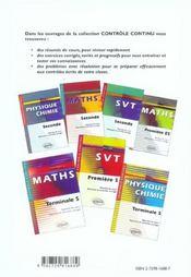 Controle Continu ; Mathématiques ; Terminale S ; Enseignement De Spécialité - 4ème de couverture - Format classique