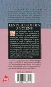 Les philosophes anciens - 4ème de couverture - Format classique