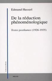 De la réduction phénoménologique ; textes posthumes (1926-1935) - Intérieur - Format classique