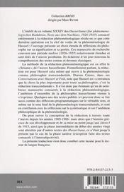 De la réduction phénoménologique ; textes posthumes (1926-1935) - 4ème de couverture - Format classique