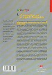 Memento-La Composition Sur Un Sujet De Droit Public - 4ème de couverture - Format classique