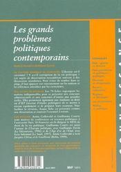 Les Grandes Questions Politiques Contemporaines ; Edition 2001 - 4ème de couverture - Format classique