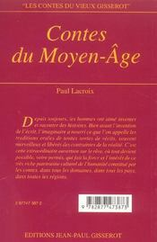 Contes Du Moyen Age - Nouvelle Edition 2012 - 4ème de couverture - Format classique