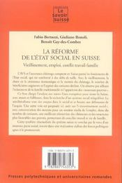 La Reforme De L'Etat Social En Suisse Vieillissement Emploi Confli Trav 27 - 4ème de couverture - Format classique