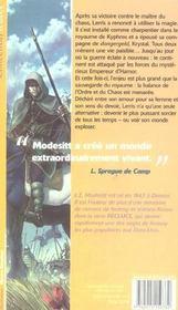 Monde De Recluce 2 (Le) - L'Empereur D'Hamor - 4ème de couverture - Format classique