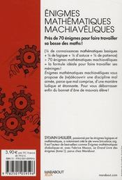 Énigmes mathématiques machiavéliques - 4ème de couverture - Format classique