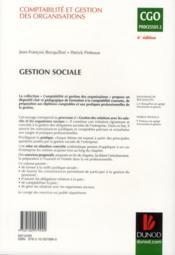 Gestion sociale ; manuel (6e édition) - 4ème de couverture - Format classique