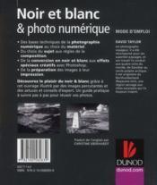 Noir et blanc & photo numérique ; mode d'emploi - 4ème de couverture - Format classique
