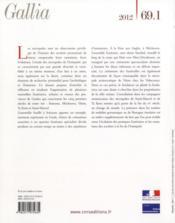 Revue Gallia N.69 ; T.1 ; Nécropoles Et Sociétés ; Cinq Ensembles Funéraires Des Provinces De Gaule (I-V Siècle Apr. J.-C.) - 4ème de couverture - Format classique