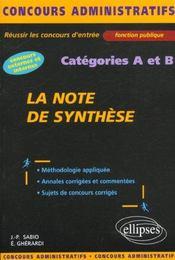 La Note De Synthese Categories A Et B Concours Externe Et Interne Fonction Publique - Intérieur - Format classique