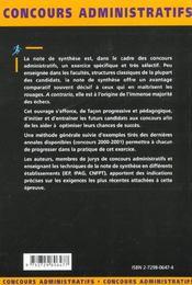 La Note De Synthese Categories A Et B Concours Externe Et Interne Fonction Publique - 4ème de couverture - Format classique
