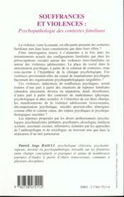Souffrances Et Violences ; Psychopatologie Des Contextes Familliaux - 4ème de couverture - Format classique