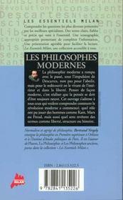 Philosophes Modernes - 4ème de couverture - Format classique