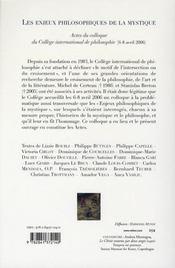Les enjeux philosophiques de la mystique - 4ème de couverture - Format classique
