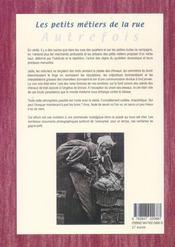 Les Petits Metiers De La Rue Autrefois - 4ème de couverture - Format classique