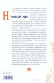 Hypotheses 2001. Travaux De L'Ecole Doctorale D'Histoire - 4ème de couverture - Format classique