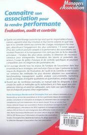 Connaitre Son Association Pour La Rendre Performante. Evaluation, Audit Et Controle - 1ere Edition - 4ème de couverture - Format classique