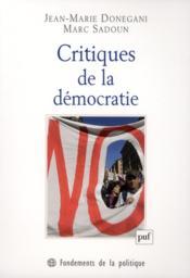 Critiques de la démocratie - Couverture - Format classique