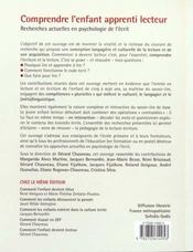 Comprendre L'Enfant Apprenti Lecteur ; Recherches Actuelles En Psychologie De L'Ecrit - 4ème de couverture - Format classique