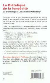 La Dietetique De La Longevite - 4ème de couverture - Format classique