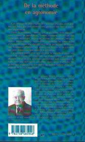 De La Methode En Agronomie - 4ème de couverture - Format classique