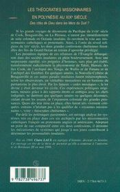 Les Theocraties Missionnaires En Polynesie Au Xix Siecle ; Des Cites De Dieu Dans Les Mers Du Sud - 4ème de couverture - Format classique