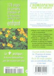 Homeopathie Pour Vos Enfants - 4ème de couverture - Format classique