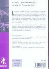 Droit Des Technologies ; Introduction Au Droit De La Société De L'Information - 4ème de couverture - Format classique