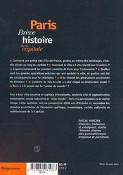 Paris, breve histoire de la capitale - 4ème de couverture - Format classique