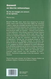 Boswell. un libertin melancolique. sa vie, ses voyages, ses amours et ses opinions - 4ème de couverture - Format classique