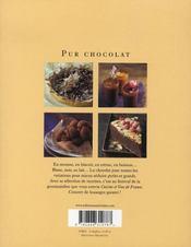 Pur chocolat - 4ème de couverture - Format classique