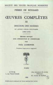 Tome Xi - Discours Des Miseres De Ce Temps Et Autres Pieces Politiques (1562-156 - Couverture - Format classique