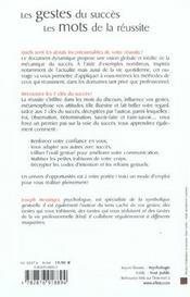 Gestes Du Succes Les Mots De La Reussite (Les) - 4ème de couverture - Format classique