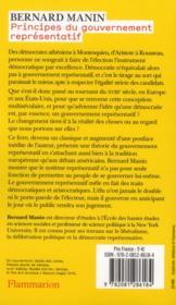 Principes du gouvernement représentatif - 4ème de couverture - Format classique