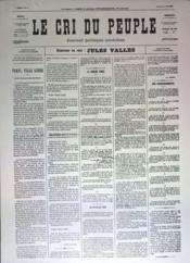 Cri Du Peuple (Le) N°20 du 22/03/1871 - Couverture - Format classique