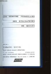 Aide-Memoire Formulaire Des Utilisateurs De Meule - Couverture - Format classique