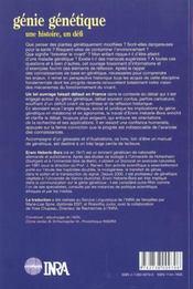 Genie Genetique. Une Histoire, Un Defi - 4ème de couverture - Format classique