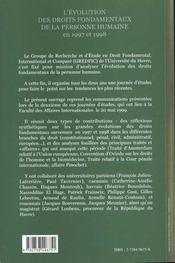 L'Evolution Des Droits Fondamentaux De La Personne Humaine En 1997 Et 1998 - 4ème de couverture - Format classique