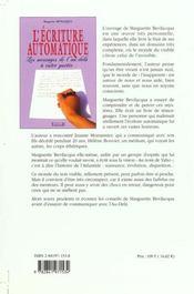 Ecriture Automatique - 4ème de couverture - Format classique