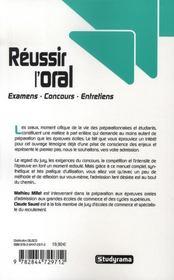 Réussir l'oral ; examens, concours, entretiens (2e édition) - 4ème de couverture - Format classique