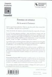 Femmes En Errance - De La Survie A L'Existence - 4ème de couverture - Format classique