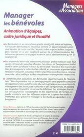 Manager Les Benevoles. Animation D'Equipes, Cadre Juridique Et Fiscalite - 1ere Ed. - 4ème de couverture - Format classique