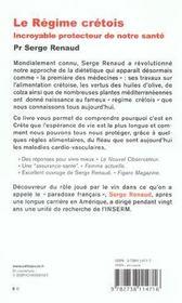 Le Regime Cretois : Incroyable Protecteur De Notre Sante - 4ème de couverture - Format classique
