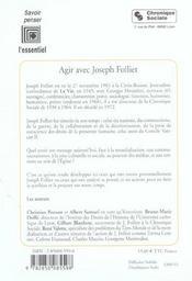 Agir avec joseph folliet - 4ème de couverture - Format classique