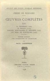 Tome Xiii - La Promesse (1564), Le Proces (1565), Elegies, Mascarades Et Bergeri - Couverture - Format classique