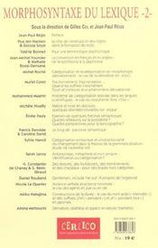 Morphosyntaxe Du Lexique 2 - 4ème de couverture - Format classique