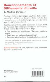 Bourdonnements Et Sifflements D'Oreilles - 4ème de couverture - Format classique