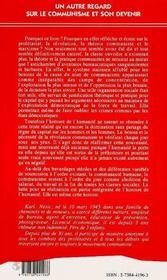 Un Autre Regard Sur Le Communisme Et Son Devenir - 4ème de couverture - Format classique